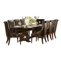 Homelegance - Homelegance Orleans 9-Piece Double Pedestal Dining Room Set in Rich Dark Cherry - The grandeur of Old World Europe is flawlessly executed in the Orleans collection. Acanthus leaf carvings feature prominently and blend with elegantly appointed moldings on each piece of this stately dining room offering. Wreath accents lend dramatic flair to the Double pedestal table base as does the sculpted lion's foot, supporting the server. The tabletop's richly hued match cherry veneers feature decorative inlay, all surrounded by the elegantly carved rope twist edge. The accompanying server's features include ample storage space, full extension glide drawers, with the center-drawer opening to reveal protective felt serving piece storage. The heavily carved mirror frame provides an extra touch of elegance. The rich dark cherry finish with gold tipping completes the formal feel of the Orleans collection.