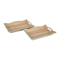 "IMAX - Hathaway Wooden Trays - Set of 2 - Made from solid mango wood, the Hathaway trays are perfectly suited for holding a tabletop display or serving breakfast in bed. Item Dimensions: (18-19""h x 12-13""w x 2"")"