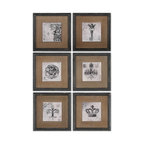 Uttermost - Uttermost Symbols Wall Art Set of 6 55000 - Prints feature a glossy finish and are accented by Medium size:ium brown burlap mats. Frames are finished in heavily distressed black with brown and gray accents.