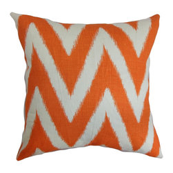 "The Pillow Collection - Bakana Zigzag Pillow Orange 18"" x 18"" - This decor pillow is beaming with positive vibes with its bright and bold look. Decorated with a white and orange zigzag pattern, this square pillow makes a loud statement. Place this accent in a space where it needs some livening up. Pair up this 18"" pillow with a matching pattern or a solid for contrast. The material used in this throw pillow is a blend of 95% cotton and 5% linen fabric. Hidden zipper closure for easy cover removal.  Knife edge finish on all four sides.  Reversible pillow with the same fabric on the back side.  Spot cleaning suggested."