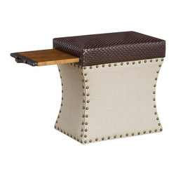 COUEF - COUEF Label Carey Storage Ottoman in Cable Chocolate/Linen Mushroom - The Carey Ottoman is the ultimate combination of form and function, combining two different fabrics to create high-end design. The bronze nail heads add a subtle and timeless sophistication to the piece. Take advantage of the comfortable seat, internal storage and the signature COUEF pullout shelf.