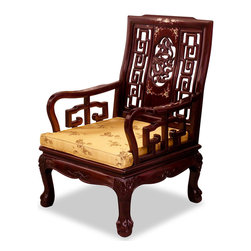 China Furniture and Arts - Rosewood Imperial Dragon Motif Arm Chair - Stately in its square form, the majestic presence of this armchair is further accentuated with the dragon and mother of pearl design in the center and the tiger paw design of the feet. Made of solid rosewood in traditional joinery technique by artisans in China. Hand applied rich dark cherry finish.