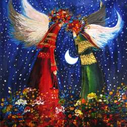 """overstockArt.com - Kopania - Angels - 20"""" X 24"""" Oil Painting On Canvas Angels is a beautiful image that will bring light to every room and joy during the holiday season. Enjoy its beauty and color reproduced as a fine canvas hand painting. Justyna Kopania is from Warszawa, Poland. In her words when she paints she tries to show the 'world', which could be seen by looking at reality that surrounds us, from another perspective, unusual, remote, sometimes through the eyes of the child, sometimes music, composer, or someone who looks lichen on the sea, the moon , the sky and the stars ..., the river ... looks out the window and looks out into the street. Walking down the street looking at people's faces. In rain, snow or fog. Perhaps the world that surrounds us really is quite different than we perceive it every day."""