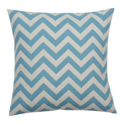 Look Here Jane, LLC - Chevron Pewter Blue Pillow Cover - PILLOW COVER
