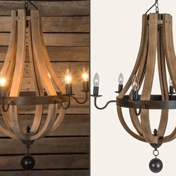 Wine Barrel 6-Arm Chandelier - Beautiful and unique, our wine barrel chandelier features a rustic metal ring that surrounds six wood slats that come together at the bottom creating a natural and organic look. Perfect for your living room or dining room. Ceiling mount/cap and hardware included.