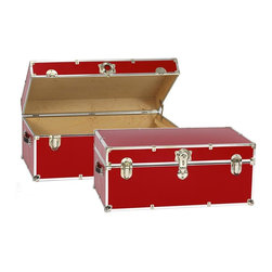 Artisans Domestic - Storage Trunk in Red - Vintage style. Handcrafted. Lined with cabinet grade birch. Removable storage tray. Wheels and leather strap handles for moving easily. Steel latches and a lock with two keys. Heavy gauge steel trim and corner pieces. Made in USA. 32 in. W x 18 in. D x 14 in. H (39 lbs.)The Artisans Domestic Heirloom Steamer Trunk can be used for toys, games, clothes, keepsakes, a memory box or even as a coffee table. Add your own college logos or decals or just let the modern retro design speak for itself.