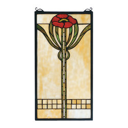 """Meyda - 11""""W X 20""""H Parker Poppy Stained Glass Window - A single bungalow red poppy with moss green leavesadorns this cornerstone beige meyda tiffany originalstained glass window, inspired by the arts and craftsmovement. An american classic design ready tocomplement your home. A solid brass hanging chain andbrackets are included."""