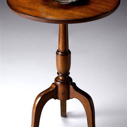 Butler - Round Pedestal Base Accent Table in Old World Cherry Finish - Timeless and elegant with a vintage inspired appeal, this wood accent table will be a gorgeous addition to a hall, great room or bedroom. Featuring physical distressing for added visual interest, the table has a pedestal base and is made of hardwoods and cherry veneer in old world cherry finish.