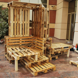 Recycled pallets - pallets that are not useful for factories are harmful for the environment, this is a chair that can be used in industrial areas for a lot of people, providing a shaded area to sit.