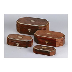 AA Importing - Octagonal Trimmed Wooden Boxes Brass Finish - Set of 4. Octagonal in shape. Wooden Construction. Set includes extra small, small, medium and large wooden boxes. Extra small: 7.25 in. L x 1.75 in. H. Large: 11.25 in. L x 3.75 in. H