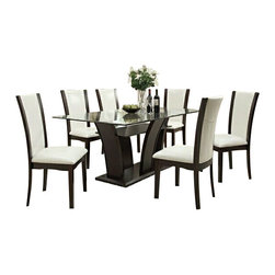 "Asia Direct - 5-Piece Espresso Wood Finish Rectangular Table Set Tempered Glass Top - 5-piece espresso wood finish rectangular table set tempered glass top with white upholstered chairs. Counter height dining table set measures: 42""W x 10MM x 72""L x 30""H, and (4) white upholstered counter height chair and espresso trim measures: 19.5""x 19""x 41.5""H. Optional sideboard available for additional cost. Some assembly may be required."