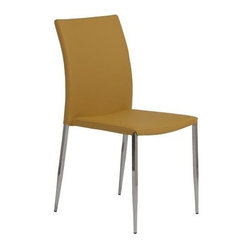 Euro Style - Dirk Side Chair - Set of 4 - Set of 4. Stainless steel legs. Upholstered leatherette seat and back. 1-Year manufacturer's warranty. 24 in. W x 18 in D x 36 in. H (12.7 lbs.)Grand ideas for small spaces, the smooth and clean geometric shapes give your rooms a trendy, up-to-date look. The furniture design make your rooms stylish and sophisticated, symbolizing your self confidence.