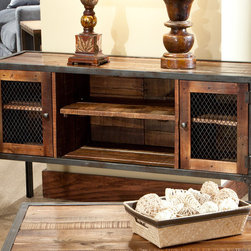 None - Laramie Reclaimed Wood Sofa Table - Enhance any space of your home with the Laramie sofa table featuring an industrial design that fits perfectly in urban spaces. The table includes bottom shelves for storage,and displays medium brown reclaimed wood with flat iron and rivets.