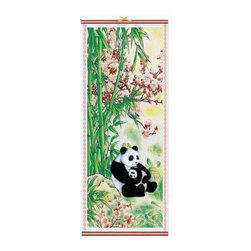 Oriental-Decor - Chinese Panda Bears Chinese Scroll - A pair of Chinese panda bears are eating a dinner of bamboo shoots in this beautiful Asian scroll. Hang this idyllic work of Chinese art on any wall for fabulous decoration.
