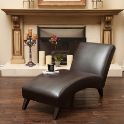 Christopher Knight Home Finlay Leather Chaise Lounge -