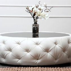 Abbyson Living - Abbyson Living Havana Round Leather Coffee Table - Enjoy this table with its unique and contemporary design for years to come