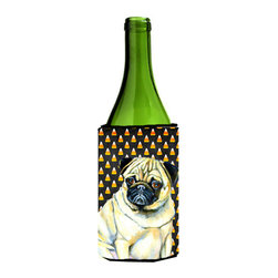 Caroline's Treasures - Pug Candy Corn Halloween Portrait Wine Bottle Koozie Hugger - Pug Candy Corn Halloween Portrait Wine Bottle Koozie Hugger Fits 750 ml. wine or other beverage bottles. Fits 24 oz. cans or pint bottles. Great collapsible koozie for large cans of beer, Energy Drinks or large Iced Tea beverages. Great to keep track of your beverage and add a bit of flair to a gathering. Wash the hugger in your washing machine. Design will not come off.