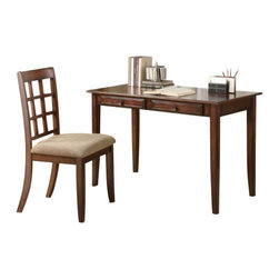 Coaster - 2Pc Desk Set (Chestnut) By Coaster - Welcome this wonderful wood table desk and chair set into your home. A simple, stylish way to add work space to any area, the table desk features sleek tapered legs and a rich natural finish that will warm your existing decor. Two drawers on the desk add extra organization space so you can keep a clutter-free work zone. This item will make a great addition to your home.