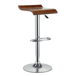 Modway - Bentwood Bar Stool in Oak - The Bentwood Bar Stool is constructed of a chromed steel frame and base. It has a bent plywood seat with natural wood finishes. This stool operates on an adjustable hydraulic piston. This item is made similar in style to the award winning LEM Piston Stool. Perfect for entertaining guests at your own bar at home, or for stylish seating around the counter.