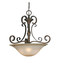 Golden Lighting - Meridian Pendant Bowl - This versatile lighting fixture can be used in just about any area of your home. It has enough presence to light up a dining table or welcome guests in the entry, or in the kitchen. Elegantly casual, flat scrolling arms and an antiqued marble glass shade lend Mediterranean flair.