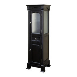 Bellaterra Home - Bathroom Linen Cabinet in Espresso Finish - Reminiscent of a Swiss Grandfather clock and crafted with the same meticulous attention to detail, this Linen tower cabinet is an exquisite complement to a bathroom vanity. The clear glass of the upper door allows for subtle interior colors to show through creating a delightful tempering effect. Dimension: 18WX16.3DX65H, Birch Espresso Antique brass finish hardware, No Assembly Required