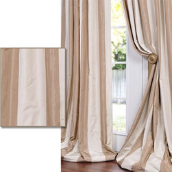 EFF - Light Brown/ Tan Striped Faux Silk Taffeta Curtain Panel - Defined by a unique sheen and fine weave, this exclusive striped faux silk taffeta curtain panel is gorgeous and timeless. This window panel has a crisp smooth finish in color coordinated stripes.