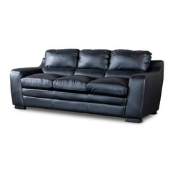 Wholesale Interiors - Baxton Studio Diplomat Modern Black Leather Sofa - Once you've sat in our Diplomat Sofa, you'll probably never want to get back up. It's easy to leave the cares of the day behind once you become absorbed in its foam cushioning and black bonded leather. black plastic legs match ideally with the leather's hue while a wooden frame provides superior support.