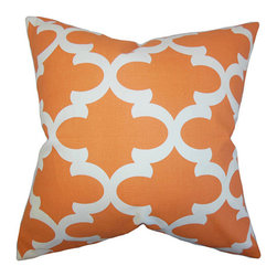 The Pillow Collection - Titian Orange 18 x 18 Geometric Throw Pillow - - Pillows have hidden zippers for easy removal and cleaning  - Reversible pillow with same fabric on both sides  - Comes standard with a 5/95 feather blend pillow insert  - All four sides have a clean knife-edge finish  - Pillow insert is 19 x 19 to ensure a tight and generous fit  - Cover and insert made in the USA  - Spot clean and Dry cleaning recommended  - Fill Material: 5/95 down feather blend The Pillow Collection - P18-PP-FYNN-APACHEORANGE-MACON