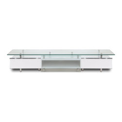 "White Line Imports - Ema High Gloss White TV Stand with Sliding Frosted Glass Door - Lacquered in High Gloss White, this TV stand with 1/2"" tempered glasses top is suitable for the biggest LCD screens and plasma displays. Mounted directly on the top shelf cabinets on their own as a stand."