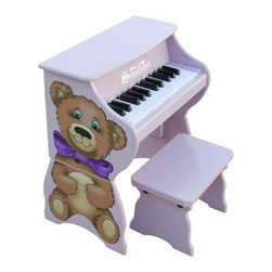 Schoenhut 25 Key Teddy Bear Piano - Just like a favorite stuffed animal the Schoenhut 25 Key Teddy Bear will grow with your child. The main unit is decorated with a fun puppy and is perfect for toddlers because it rests safely on the floor. Later the sides can be attached to raise the piano to a comfortable height for an older child seated at the bench. Little ones love the sound of the piano's hammers striking metal strings to create mesmerizing chime-like tones. The width of the keys promotes proper finger placement enabling an easy transition to a larger piano. About Schoenhut The Schoenhut story begins in the 1800s when a young Albert Schoenhut began to build toy pianos in his Wurtenberg Germany home. Born into a toy-making family Schoenhut knew his way around a piano at a young age. By the time he was 23 he had already founded the Schoenhut Piano Company. The business started with just pianos but grew to include a variety of instruments. When Schoenhut died in 1912 his company was the largest toy maker in the United States. Today the company is owned by Len and Renee Trinca. In addition with Schoenhut's original designs Len has designed and crafted new prototypes to add to the company's line. Every product is guaranteed to bring 100 percent satisfaction it's the Schoenhut promise.