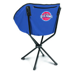 """Picnic Time - Detroit Pistons Sling Chair in Navy - The Sling Chair by Picnic Time is a portable, folding chair you can take anywhere. The chair opens to 20"""" wide x 14"""" deep x 30"""" high. No loose parts It's so compact and convenient, you may just want to keep it in the trunk of your car!; Decoration: Digital Print; Includes: 1 nylon drawstring carry bag"""