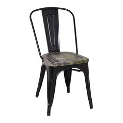 Office Star Products - Black Frame Vintage Sheet Metal French Cafe and Bistro Armless Chairs (Set of 2) - Enrich the style of your home or patio with this classic and nostalgic Black Frame Vintage French armless chair.  Whether your home decor style is chic and industrial,youthful and eclectic,or bold and rustic,this chair makes for an alluring addition.