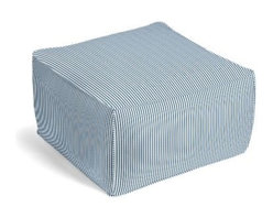 Blue Ticking Stripe Custom Pouf - The Square Pouf is the hottest thing in decor since the sectional sofa. This bean bag meets Moroccan style ottoman does triple duty as a comfy extra seat, fashion-forward footstool, or part-time occasional table. We love it in this classic traditional cotton ticking stripe in blue and white.