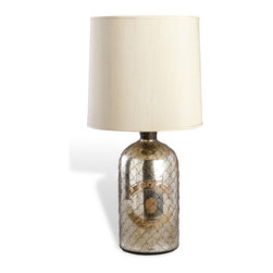 "Kathy Kuo Home - Malines Antique Mercury Glass Bottle Lamp - ""The Malines Lamp is a throwback to ages past, flaunting a reproduction of an authentic mercury glass bottle as the body of the lamp.  Detailed with a Belgian-inspired antique farmers' market label reading �Le Soleil Malines,� this reproduction is completed with antique brass cording wrapped around the lip of the bottle and a champagne-colored shade that complements its design."