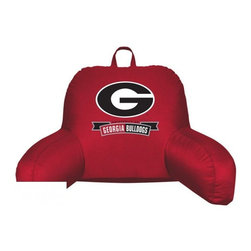 Sports Coverage - Georgia Bulldogs NCAA Jersey Material Bedrest - Sit back and get ready to watch the game with this comfortable Georgia Bulldogs NCAA Jersey Material Bedrest from Sports Coverage Inc. Each bedrest is made from 100% Polyester Jersey with a 100% Polyester fill (just like the athlete's wear) and features a screen printed logo in the center. Great for watching the game on the floor or in your bed, this Locker Room bedrests allows your to cheer for your team while relaxing in style.   Features:  -  100% Polyester ,   -  Lightweight,    - Jersey Bedrest ,   - Team logo centered on solid background ,   -  Size: 21x 31,