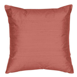 The Silk Group - Lipstick 18x18-Inch Silk Dupioni Square Poly Insert Decorative Pillow - - Handcrafted in the USA these decorative pillows are ideal for adding that special finishing touch to any space. Available in over 100 colors several of them can be combined for a grouping of complementary colors or contrasting shades. They feature 100% Grade A Silk Dupioni the finest highest quality most exquisite silk fabric on the market. A high quality knit backing is permanently bonded to the back of the fabrics used in our pillows. The knit backing adds body increased stability and longevity to the pillow. An invisible color-coordinated zipper is discretely placed on the bottom edge of the pillow so both faces of the pillow are able to be displayed. The pillow inserts we use are over-sized so our pillows will always have that desirable high soft and fluffy appearance. Our pillows are available without the insert too if you prefer to use your own. The fabric face has been treated with the most durable and permanent stain moisture and UV repellants available. This provides long lasting protection from water alcohol and oil-based stains as well as resistance from fading and discoloring over time.  - Fill Material: Down  - Dry Clean Only The Silk Group - SQ_Dup_Sol_Lipstick_18x18_Poly