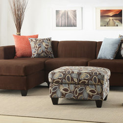 Modern Small Chocolate Microfiber Sectional Sofa Set Reversible Chaise - Simplistic and modern crafted living room furnishings covered in smooth microfiber, this 2-piece sectional features a reversible chaise and solid wood legs in a deep brown. This lovely piece also includes double-sided accents pillows with a floral and a solid colored side.