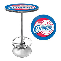 Trademark Global - Los Angeles Clippers NBA Chrome Pub Table - Officially Licensed Art. Reverse Printed on .125 inch Scratch Resistant UV Protective Acrylic. Table Top is trimmed with Chrome Finished Plastic Banding. Chrome Base. Adjustable Foot Rest. Table Top Dimensions: 27.375 x 27.375 x 1.25 inches. Overall Dimensions: 27.375 x 27.375 x 42 inchesImpress your guests with your officially licensed chrome pub table. This fully functional pub table will be a stylish accent to your game room, garage or collection. The table top features an authentic logo trimmed with chrome finished plastic banding and is supported by a chrome base. The chrome base is both lightweight and durable. It features an adjustable foot rest for customizable comfort. Bring style, function and comfort to your game room, garage or collection with an officially licensed chrome pub table.