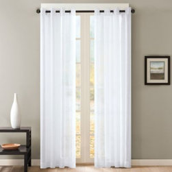 E & E Co., Ltd. - Skyline Sheer Grommet Window Curtain Panels - This attractive, sheer window curtain panel has a touch of metallic woven into the fabric to create a soft reflection. And since it's sheer the panel allows light to gently flow into your room.