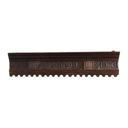Used 19th-Century Walnut Hanging Rack - We're hung up on this early 19th century walnut rack with hooks. Hand carved with rough hewn iron hangers for mounting on the back. What a place to put your hat at the end of the day!