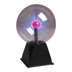 "Creative Motion - Sound Activated Lightning Plasma Globe - 7"" - A 7"" globe sets atop a stylish black base.  Colorful streams of electricity dance across the surface of the 7"" globe.  Touch the glass and the lightning streams travel to your fingertips."