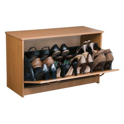 Venture Horizon - Single Shoe Chest - Oak - Stackable Shoe Cabinets...Organizes & Protects Your Investment. Just think about how much money we spend on just one pair of shoes. It adds up. Before you know it there are thousands of dollars worth of shoes cluttering up the floor of the closet. Our good looking, practical cabinets will accommodate the largest shoe collections. Getting them off the floor. Neatly organized in their own space. Keeping them clean and protected. Also eases the selection process each and every morning. The Single units are stackable. The Single unit measures 18in. high x 30in. wide x 11 1/2in. deep. The Double unit measures 34in. high x 30in. wide x 11 1/2in. deep. The Tripleunit measures 48in. high x 30in. wide x 11 1/2in. deep.Constructed from durable melamine laminated particle board these cabinets are 30in. wide and 11 1/2 deep. Stain resistant and easy to clean. Available in Oak, Cherry, White, Black. Assembly required. Made in the USA.