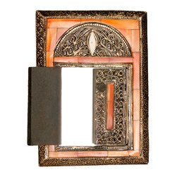 Moroccan Buzz - 10.5 Inch Rectanular Henna Bone Mirror with Doors - This charming handcrafted mirror is framed with hand-embossed metal and hand-carved bone accents.