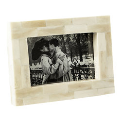 Lazy Susan - Bone Block Frame, 4x6 - A geometric pattern of rich winter whites frames photos exquisitely. Made from genuine bone, the beautiful frame provides a wonderful setting for a favorite photo in the home.