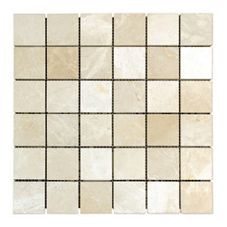 STONE TILE US - Stonetileus 10 pieces (10 Sq.ft) of Mosaic Botticino 2x2 Polished - STONE TILE US - Mosaic Tile - Botticino 2x2 Polished Specifications: Coverage: 1 Sq.ft size: 2x2 - 1 Sq.ft/Sheet Piece per Sheet : 36 pc(s) Tile size: 2x2 Sheet mount:Meshed back Stone tiles have natural variations therefore color may vary between tiles. This tile contains mixture of white - light brown - dark brown - ivory - and color movement expectation of low variation, The beauty of this natural stone Mosaic comes with the convenience of high quality and easy installation advantage. This tile has Polished surface, and this makes them ideal for floor, walls, kitchen, bathroom, Sheets are curved on all four sides, allowing them to fit together to produce a seamless surface area. Recommended use: Indoor - Outdoor - High traffic - Low traffic - Recommended areas: Botticino 2x2 Polished tile ideal for floor, walls, kitchen, bathroom,Free shipping.. Set of 10 pieces, Covers 10 sq.ft.