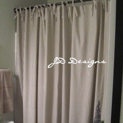 Extra-Long Shower Curtain, Black and White Ticking by JD Design - I use this extra long shower curtain in the bathroom, along with black accents.