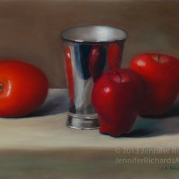 Apples and metal cup - fine art oil painting - Jennifer Richards