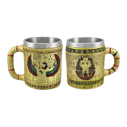 Zeckos - Pair of Golden Egyptian Coffee Mugs Isis/Pharaoh 12 oz. - Greet the day together with this pair of golden mugs that each hold 12 fluid ounces of coffee, tea, or hot chocolate. One features a winged Isis and heiroglyphics around the cup, the other a pharaoh, with decorative handles. The stainless steel liners help keep your drinks cool and are easy to clean. The mugs measure 4 1/4 inches tall and are 3 1/4 inches in diameter. They are made of cold cast resin, hand painted, and should be washed by hand.