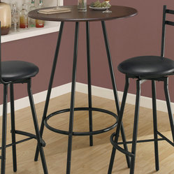 Monarch Specialties 2340 Cappuccino Round Top Bar Table in Black