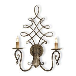 Currey and Company - Regiment Wall Sconce - This wall sconce looks like it's right out of an old Hollywood movie set. The elaborate wrought iron curves paired with two candelabras make your space the showpiece you want it to be.